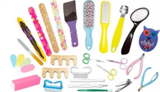 Nail files, scissors, pumice stone